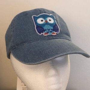 Sequined Owl Denim Baseball Cap NEW
